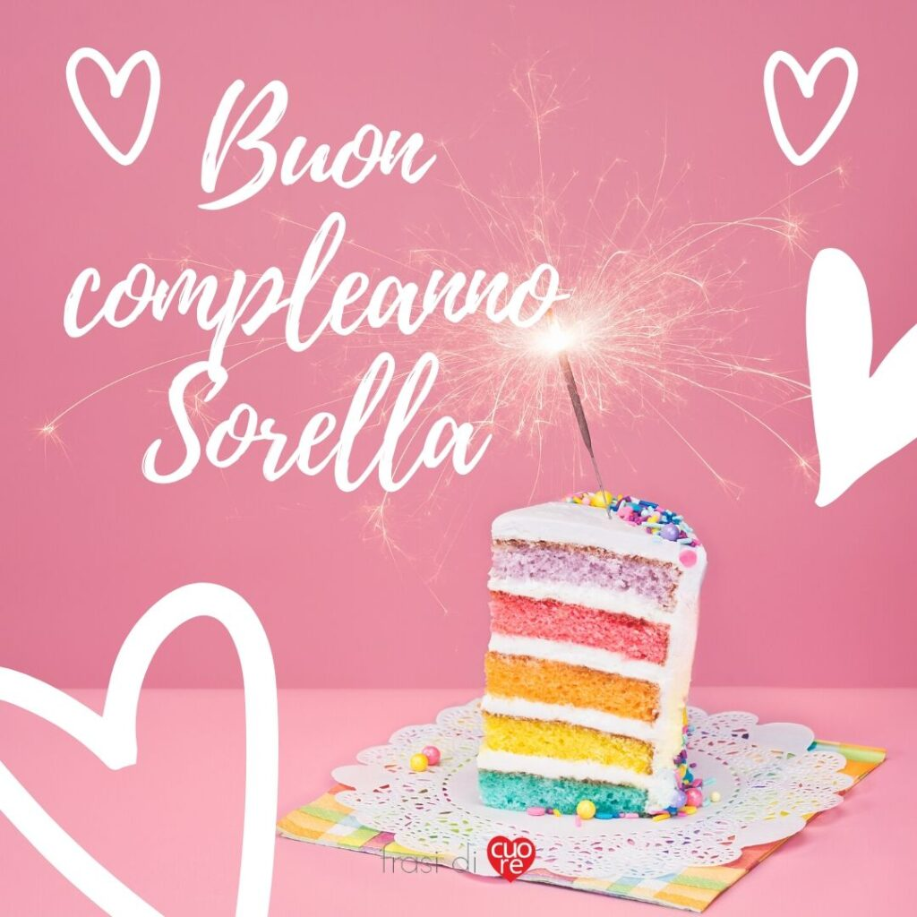 Buon compleanno sorella con torta