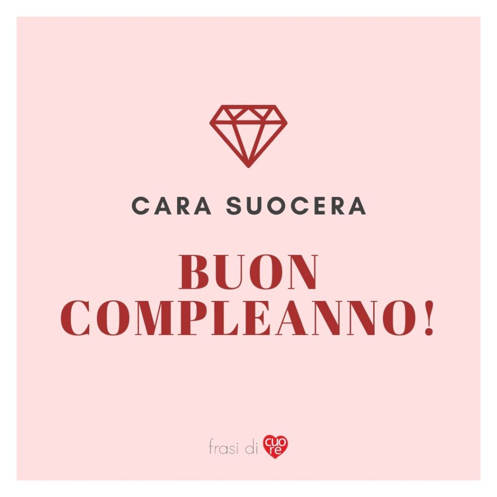 Buon compleanno suocera rosa e rosso diamante