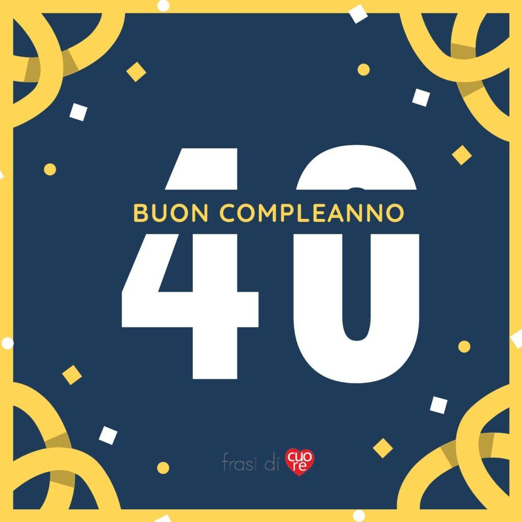 Buon compleanno 40 anni giallo blu e coriandoli