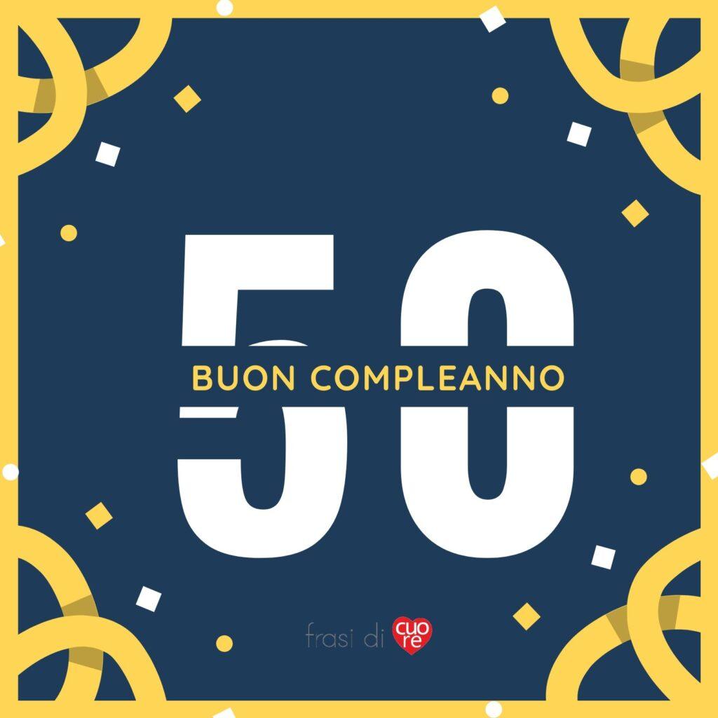 Buon compleanno 50 anni giallo blu e coriandoli