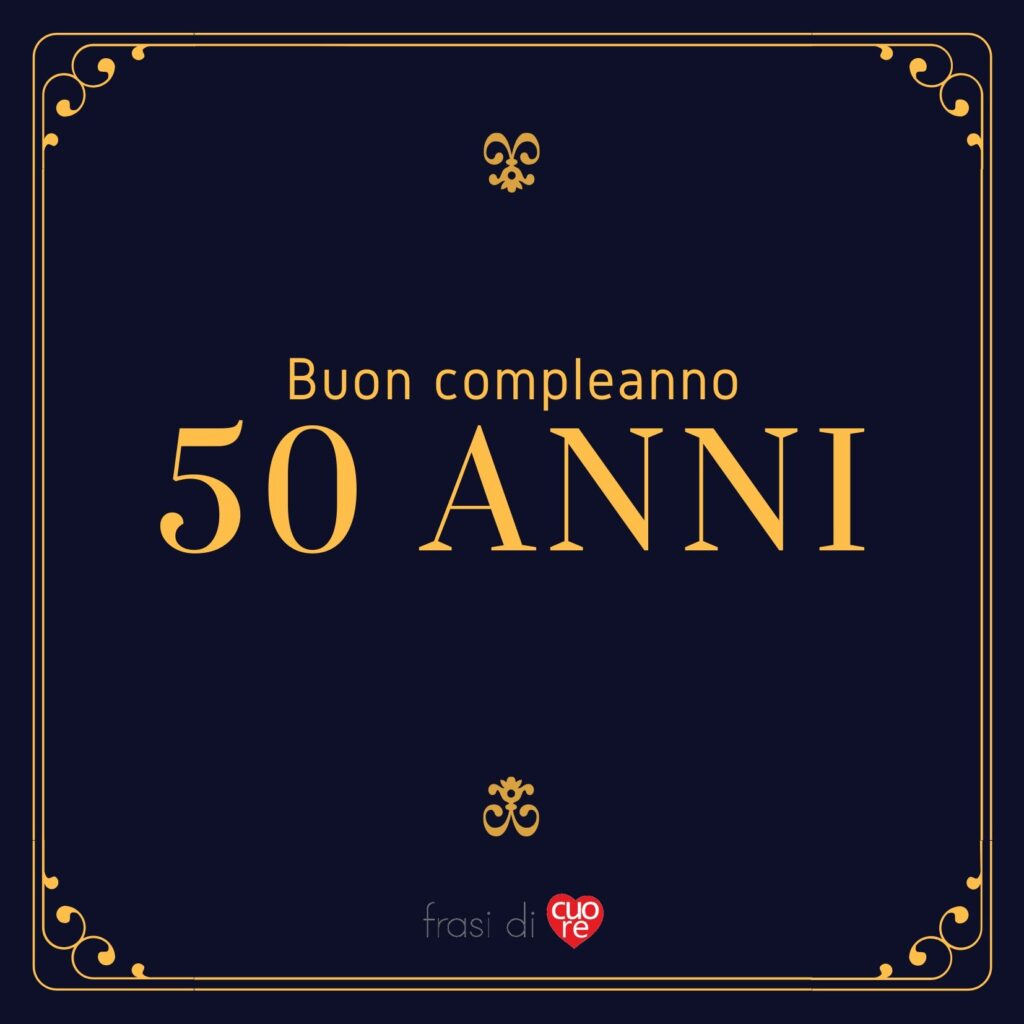 Buon compleanno 50 anni nero e oro