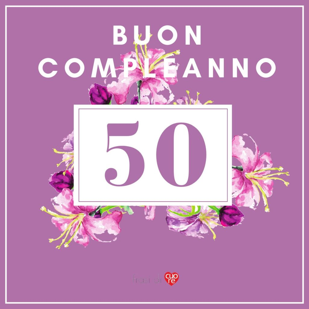 Buon compleanno 50 anni viola floreale acquerello