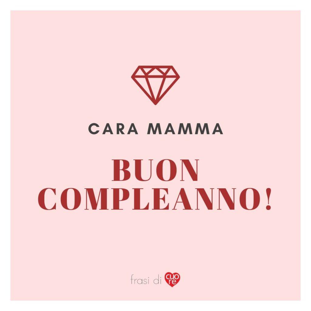 Buon compleanno mamma rosa e rosso diamante