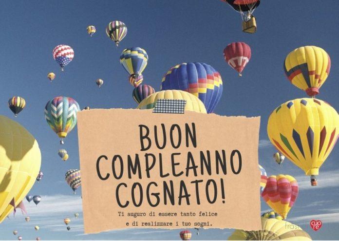 Buon compleanno cognato - mongolfiere cielo sogni felicità